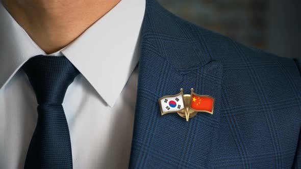 Thumbnail for Businessman Friend Flags Pin South Korea China