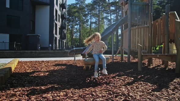Thumbnail for Happy Kids Playing at Playground Near with House