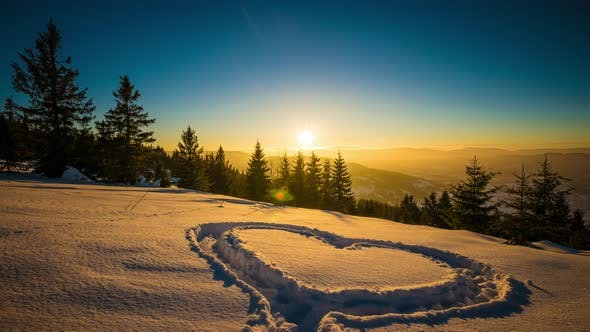 Cover Image for Heart on Snow, Sunset Winter Mountain