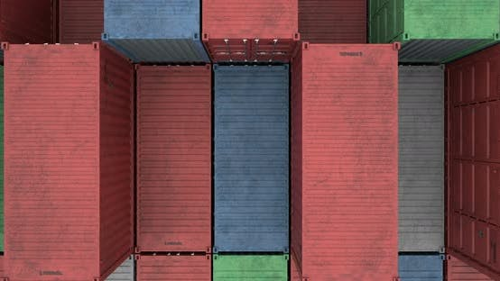Cover Image for Drone View of Cargo Shipping Container Stacks