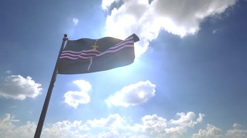 Peterborough City Flag (Canada) on a Flagpole V4