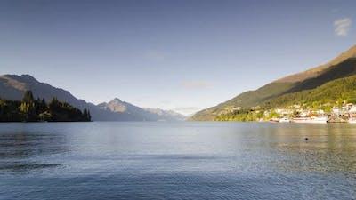 Timelapse Lake Wakatipu in morning.