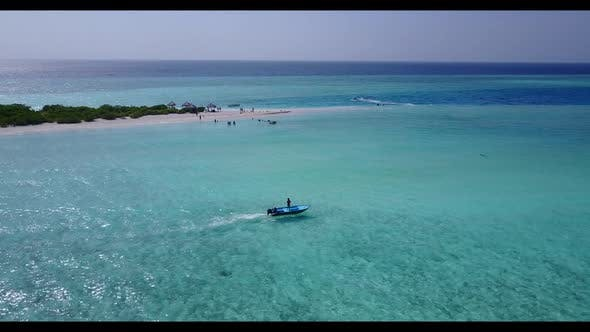 Aerial tourism of idyllic seashore beach time by blue sea and white sandy background of adventure ne