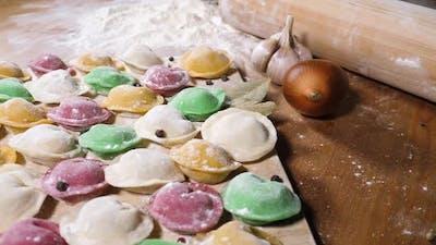 Multi colored homemade dumplings