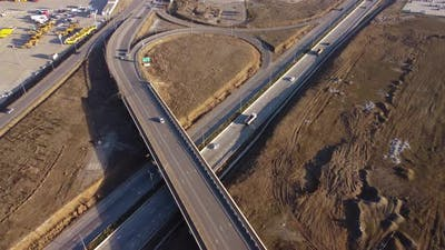 Trucks And Cars On The Highway Aerial