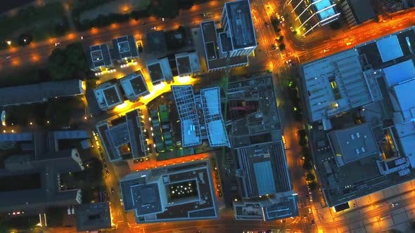 Thumbnail for AERIAL: Birds View of Big City Construction Site at Night,City Lights, Traffic,Movement
