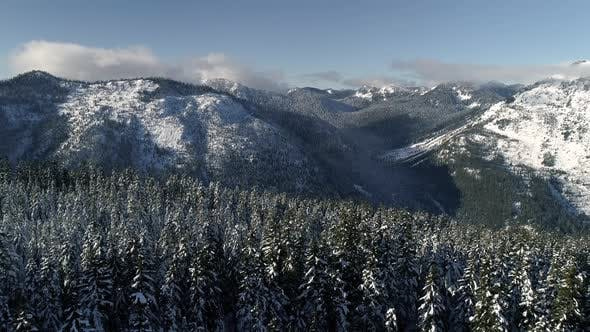 Thumbnail for Early Winter Snow Aerial In Washington Evergreen State Mountains