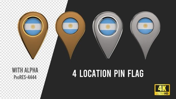 Argentina Flag Location Pins Silver And Gold