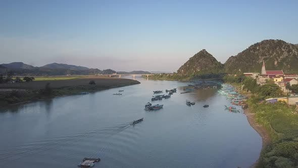 Thumbnail for Aerial View Boats in River Bay with Bridge Against Hillpeaks