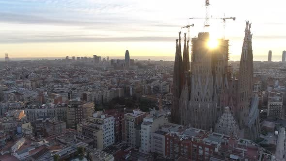 Thumbnail for Flying Over Sagrada Familia Cathedral and Buildings of Barcelona