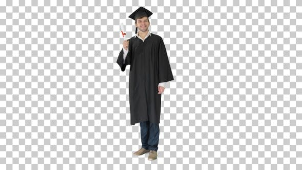 Thumbnail for Happy male student in graduation robe, Alpha Channel