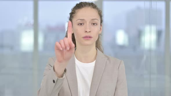 Thumbnail for Portrait of Attractive Young Businesswoman Saying No By Finger