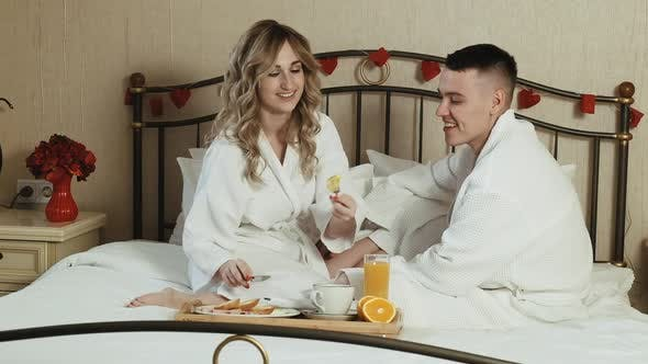 Thumbnail for Young Couple Lovers Romantic Breakfast in Bed