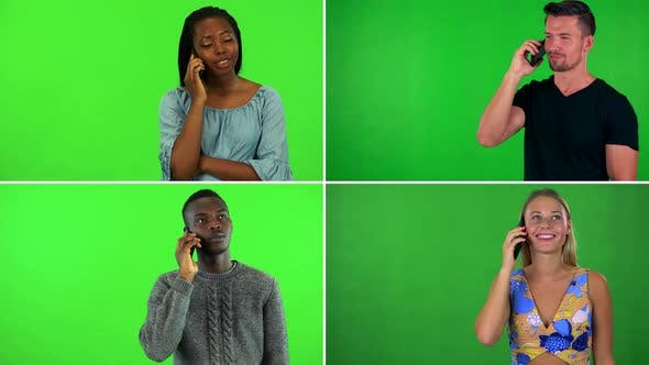 Thumbnail for Compilation (Montage) - Four People Talk on Smartphones - Green Screen