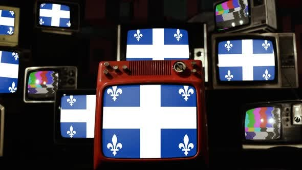 Thumbnail for Flag of Quebec, Canada, and Retro TVs.
