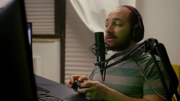 Closeup of Pro Streamer Talking Into Professional Microphone