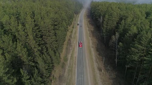 Aerial view fire engine in forest 10