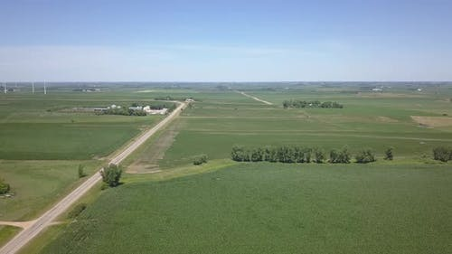 Aerial of Minnesota Farmland Cropland and Farms in Summer Soybeans Country Road