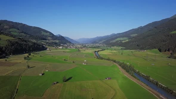 Thumbnail for Aerial View of Mountain Valley in Austrian Alps