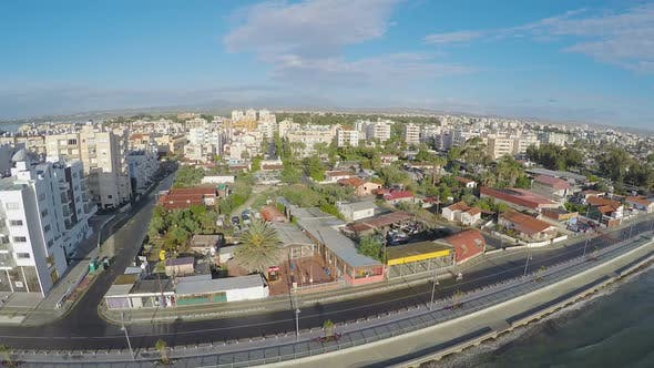 Cover Image for Panorama of seafront in Larnaca city, resort town in Cyprus, aerial view