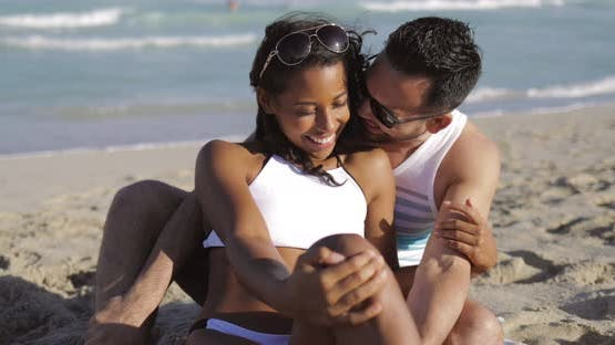 Happy Couple Embracing on Shore - product preview 0