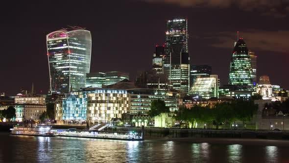 london city  skyline financial business skyscrapers night