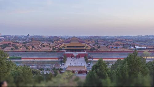 Forbidden City and Beijing Skyline, China. View From Jingshan Park at Sunset