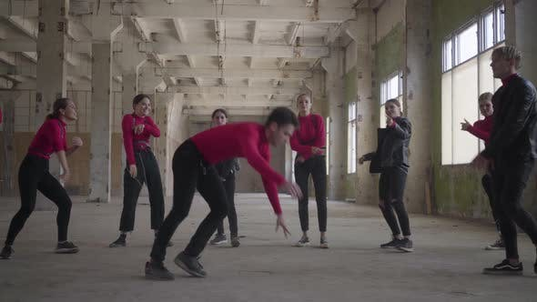 Thumbnail for Skillful Dancer Girls and Boys Enjoying Hip Hop Moves Performing Freestyle Dance Together