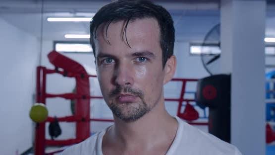 Portrait Sportsman Boxer of a Focused Caucasianeuropean Male Boxer Looking Straight Into Camera