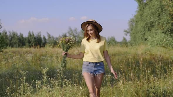 Happy Woman with Bouquet of Wildflowers Walking and Picking Flowers in Meadow