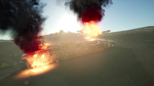 Thumbnail for Burned Tank in the Desert at Sunset