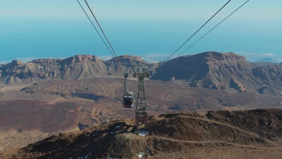 Cover Image for Cableway on the Volcano Teide. Touristic Way To Pico Del Teide Mountain. El Teide National Park