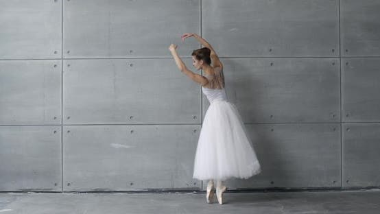 Elegant Female in a White Tutu, Dance Ballet and Perform Choreographic Elements on a Gray Background