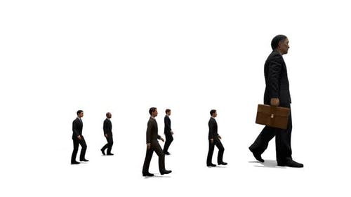 Small Businessmen Following Big Businessman