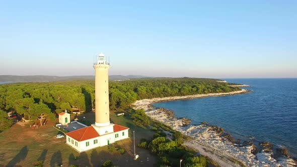 Thumbnail for Flying over people visiting a lighthouse, Croatia