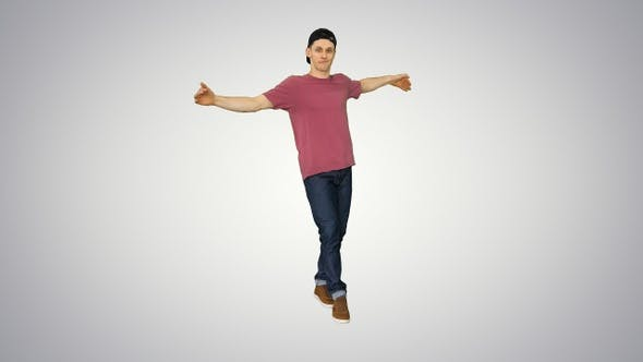 Thumbnail for Hip-Hop Guy in A Cap Dancing on Gradient Background
