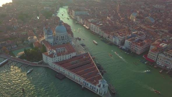 Thumbnail for Aerial View. Beautiful Skyline Sunset in Venice Grand Canal Italy