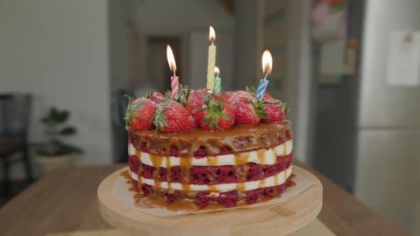 Strawberry Cake Sweet Food Rotates Home Kitchen