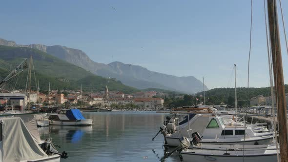Makarska seaport with boats