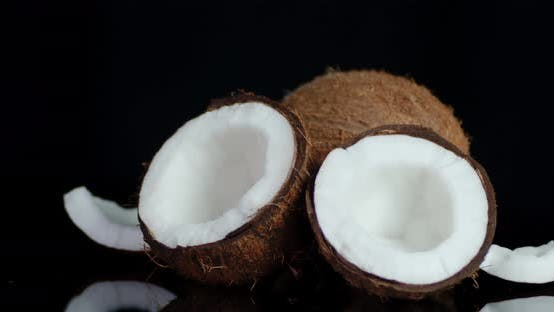 Thumbnail for Pieces of Fresh Coconut Slowly Rotate