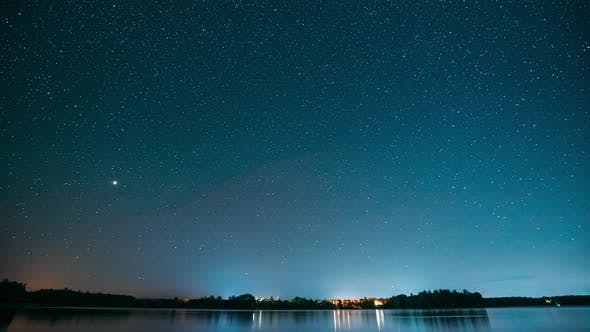 Lyepyel District, Vitebsk Province, Belarus. Real Colorful Night Stars Above Lepel Lake. Natural