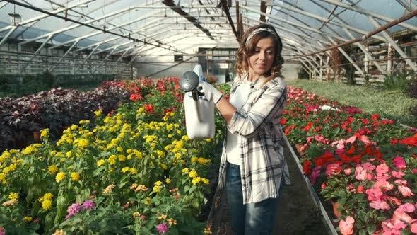 Woman Watering Plants at Indoor Plantation