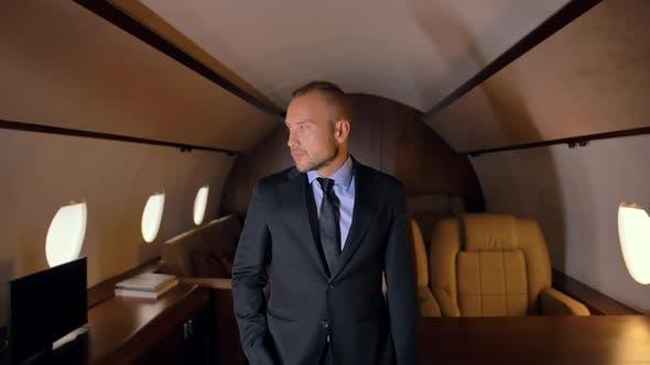 Business Person Portrait in Private Jet.