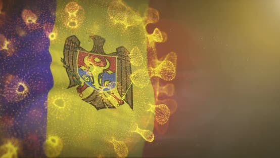 Moldova Flag With Corona Virus Bacteria