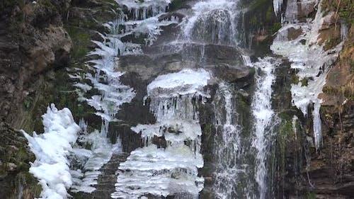 Iced Waterfall in Winter