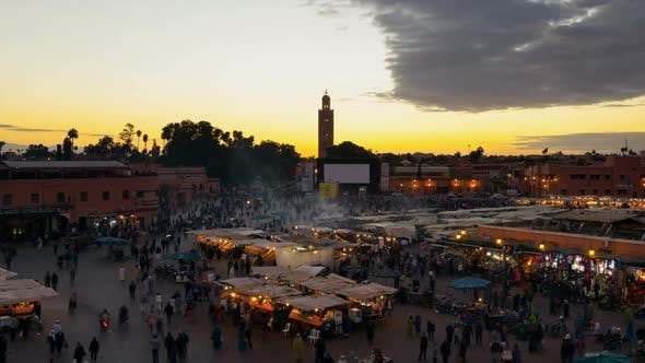Thumbnail for Tourists at Djemaa el Fna square