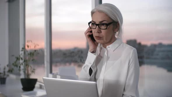 Cover Image for Hardworking Caucasian Businesswoman Talking on Phone with Client