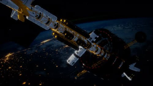 Big Spaceship on the Earth Orbit. Elements Furnished By Nasa
