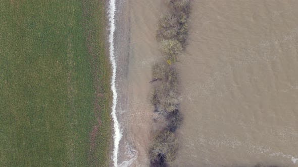Aerial View of Flooding in the UK During the Winter Causing Devastation