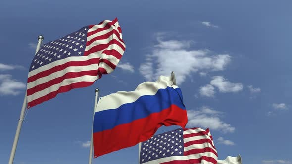 Thumbnail for Row of Waving Flags of Russia and the USA